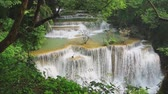bystřina : Beautiful Huai Mae Khamin waterfall in the rainy season with green forest, Kanchanaburi Province, Thailand,Video Full HD 1920x1080