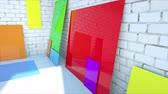 vintage : color blanks paper on brick room. Color plastic Stock Footage