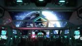 cabine : space ship futuristic interior. Earth view from cabine. Galactic travel concept.