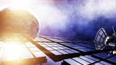 spacecraft : Satellite in space. view of the earth. Sunrise. 4k animation. Stock Footage