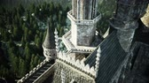 balcony view : Old fairytale castle on the hill. aerial view. Realistic 4k animation.