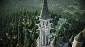 varanda : Old fairytale castle on the hill. aerial view. Realistic 4k animation.