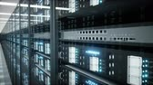 server : interior of server room in datacenter. The flying camera. Realistic 4k animation.