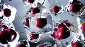 hűvös : Cherry rotate in ice cubes. Food and broadcast concept. Realistic ice materials. 4K animation. Stock mozgókép