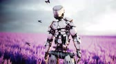 assassino : Military robot, cyborg with gun in lavender field. concept of the future. Realistic 4k animation. Vídeos