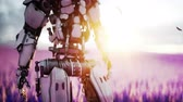 guerreiro : Military robot, cyborg with gun in lavender field. concept of the future. Realistic 4k animation. Vídeos