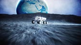 meddő : Moon vehicle on the moon. space expedition. Earth background. Super realistic 3d animation.