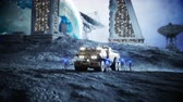 посадка : Military car on moon with robots. Moon colony. Earth backround. Realistic 4K animation.