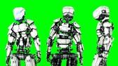 shaking hands : robot is idle . Realistic motion and reflections. 4K green screen footage. Stock Footage