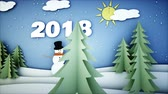 papai noel : Snowman Paper flat animation. 2018 Happy new year . Snowfall. Realistic 4K animation.