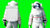 ficando : Astronaut stay idle . Green screen. Realistic 4k animation.