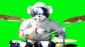 бас : Funny astronaut play to drums . Green screen. Realistic 4k animation.