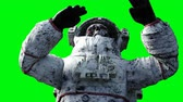 korku : Dead zombie astronaut in space. Cadaver. Green screen. Realistic 4k animation.