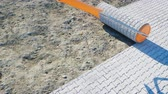 laje : A roll of paving slab. Brush of paving slab. Building concept. Realistic 4K animation.