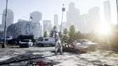 askerler : Military robot in destroyed city. Future apocalypse concept. Realistic 4k animation.