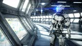 People and robots. Sci fi tonnel. Futuristic traffic. Concept of future. Realistic 4K animation. Stock Footage