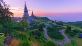 Time lapse pagoda in Doi inthanon mountain with morning sunrise in Chaingmai, Thailand Wideo