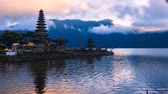 balinese : Time lapse Pura ulun danu bratan temple,bratan lake in Bali,Indonesia.
