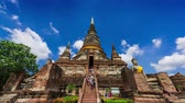 AYUTTHAYA, THAILAND-MAY 6,2018:Time lapse of Wat Yai Chai Mongkhon, a Buddhist temple of archaeological park, Ayutthaya, Thailand