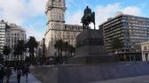 oriental republic of uruguay : Uruguay, Montevideo, View of the Independence Square with the Artigas Monument and the Salvo Palace. Stock Footage
