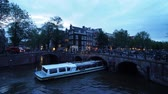 world locations : Keizersgracht and Leliegrach Canals and Bridges at dusk, Amsterdam, North Holland, The Netherlands