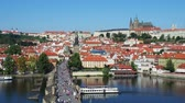 charles bridge : View over Vltava River and Charles Bridge towards Lesser Town and Castle, Prague, Bohemia Region, Czech Republic