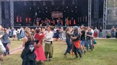 people dancing to balfolk at the forest stage, Castlefest festival, 2 August 2019, Keukenhof, Lisse, The netherlands Стоковые видеозаписи