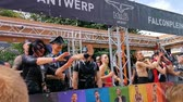 Fetish party trailer during the antwerp gay pride parade, 10 August, 2019, Antwerp, Belgium Стоковые видеозаписи