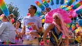 Party truck with rainbow feather duster outfits, Gay pride parade Antwerp, 10 August, 2019, Antwerp, Belgium