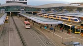 emelvény : Utrecht central station timelapse, popular big city, Public urban transportation, Utrecht, The Netherlands, 23 January, 2020 Stock mozgókép