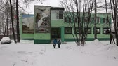 lour : YELIZOVO CITY, KAMCHATKA PENINSULA, RUSSIA - JAN 5, 2017: Aministration building of Kronotsky Nature Biosphere Reserve during snowfall and people coming out of building after visit to Museum of Nature Stock Footage