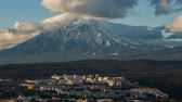 city of tours : Kamchatka time lapse: top view of city landscape of Kropotka, Koryaksky Volcano. Kamchatka Peninsula, Russian Far East, Eurasia.