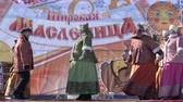 documentary : YELIZOVO CITY, KAMCHATKA PENINSULA, RUSSIA - MARCH 10, 2019: Public concert Ensemble of Russian Folk Song Gorlitsa. Maslenitsa - religious, folk holiday, celebrated during last week before Great Lent.