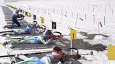 Group of sportsman biathlete rifle shooting, aiming, reloading rifle in prone position. Junior biathlon competitions East of Cup. Petropavlovsk, Kamchatka Peninsula, Russian Far East - April 13, 2019.