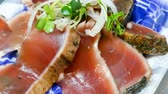 sashimi : Raw Tuna-fish, Tuna sushi was sliced with salad on traditional Japanese dish. Traditional Japanese food.