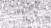 Outline city concept. 3D illustration video Vídeos