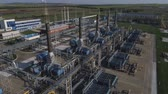 oil factory : 4K Aerial shot from oil tanks and towers in a refinery