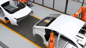 Electric vehicles body assembly line. 3D rendering animation Vídeos