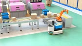 Robotic arm picking parcel from conveyor to AGV (Automatic guided vehicle). Smart factory concept. 3D rendering animation.