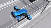 Blue VTOL drone fly across highway to delivery packages. Concept for fast delivery service. 3D rendering animation. Vídeos