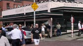 overlooking : SEATTLE,UNITED STATES - CIRCA May 2012 :people walking at Seattle public market - pike street Stock Footage