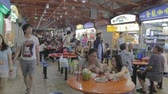 rice dishes : SINGAPORE, SINGAPORE - CIRCA December 2011 :scene at popular maxwell hawker food center in china town