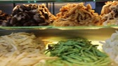 rice dishes : SINGAPORE, SINGAPORE - CIRCA December 2011 :singapore food court hot pot vegetables Stock Footage
