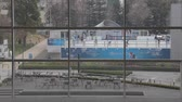 TOKYO,JAPAN - CIRCA March 2015 :Tokyo midtown ice rink from inside mall Stock Footage