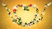 botany : Flower wreath, heart shaped, gold background