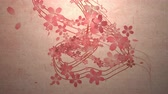 Cherry blossoms are blooming along the trajectory, in paper texture background 2