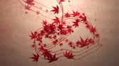 çizimleri : Red momiji leaves are blooming along the trajectory, in paper texture background 2 Stok Video