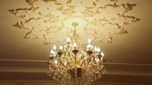 first class : beautiful crystal chandelier in ball room Stock Footage