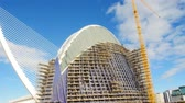 autostrada : VALENCIA, SPAIN - January 10, 2018. Construction of a new building in the City of Arts and Sciences