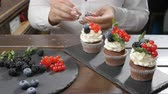 baking dishes : Concept of small business and Confectionery. Female baker decorating tasty cupcake Stock Footage